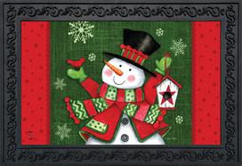 Snowman and Birdhouse Winter Doormat