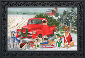 Holiday Dogs Christmas Doormat