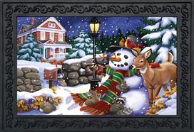 Snowfall Gathering Winter Doormat