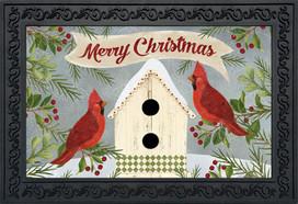 Christmas Cardinal Birdhouse Doormat