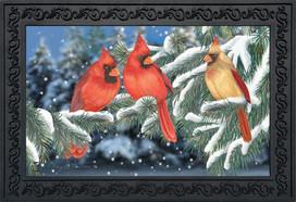Winter Cardinal Trio Doormat