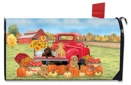 Fall Puppies Mailbox Cover