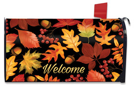 Fall Leaves & Acorns Welcome Mailbox Cover