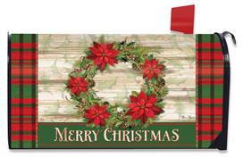 Poinsettia Wreath Christmas Mailbox Cover