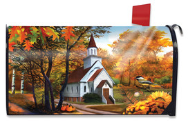 Autumn Church Sunset Mailbox Cover
