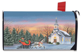 One Horse Open Sleigh Christmas Magnetic Mailbox Cover