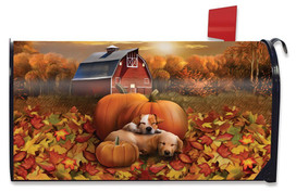 Welcome Fall Puppies Magnetic Mailbox Cover