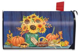 Fall Mason Jar Sunflowers Magnetic Mailbox Cover