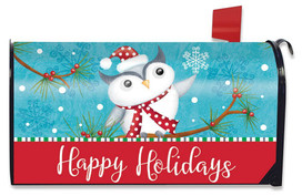 Happy Holidays Owl Primitive Magnetic Mailbox Cover