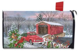 Winter Covered Bridge Seasonal Magnetic Mailbox Cover