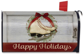 Happy Holiday Skates Magnetic Mailbox Cover