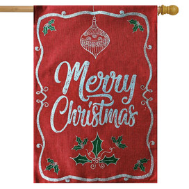 Merry Christmas Holly Burlap House Flag