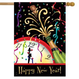 Happy New Year Clock House Flag