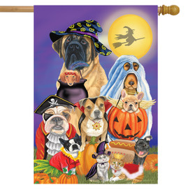 Trick or Treat Dogs Halloween House Flag
