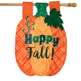 Fall Pumpkin Applique House Flag