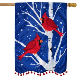 Winter Cardinals Applique House Flag