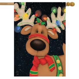 Reindeer in Lights Christmas House Flag