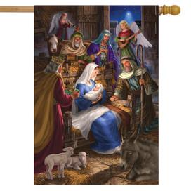 Holy Family Christmas House Flag