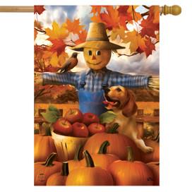 Autumn Scarecrow Harvest House Flag