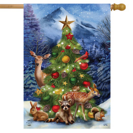 Christmas Tree Friends House Flag