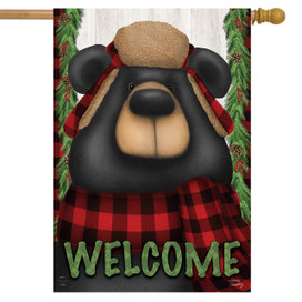 Woodsy Bear Welcome Winter House Flag
