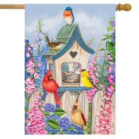 Birds of Spring Floral House flag
