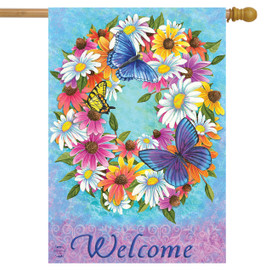 Butterfly Wreath Spring House Flag