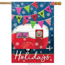 Happy Holidays Camper Primitive House Flag