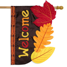 Fall Leaves Applique House Flag