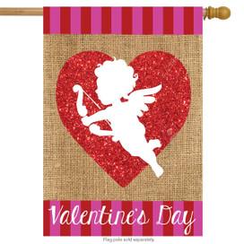 Cupid Burlap Valentine's Day House Flag