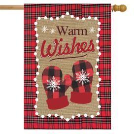 Warm Wishes Winter Burlap House Flag