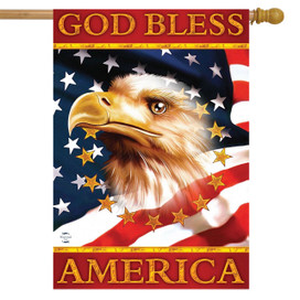 God Bless America Eagle House Flag