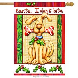 Santa, I Don't Bite Christmas House Flag