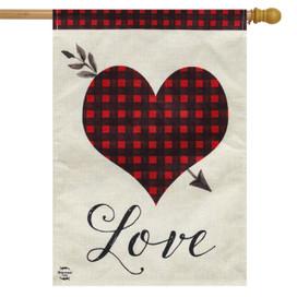Love Heart Valentine's Day Burlap House Flag