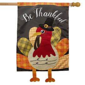 Colorful Turkey Thanksgiving Applique House Flag