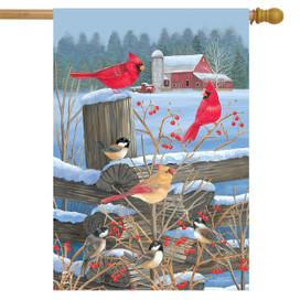 Birds of Winter Cardinals House Flag