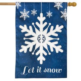 Let It Snow Winter Applique House Flag