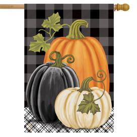 Checkered Pumpkins Autumn House Flag