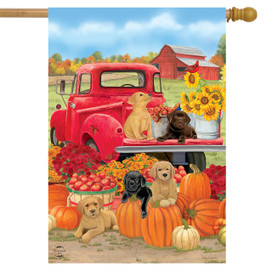 Fall Puppies House Flag