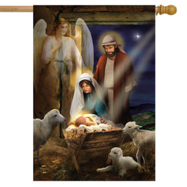 Holy Nativity Christmas House Flag