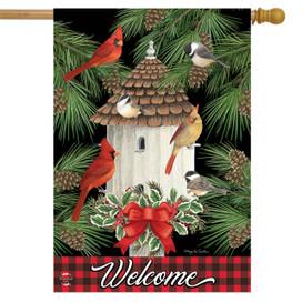 Holiday Bird Gathering House Flag