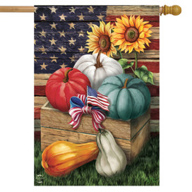 Patriotic Pumpkins Autumn House Flag