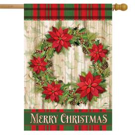 Poinsettia Wreath Christmas House Flag