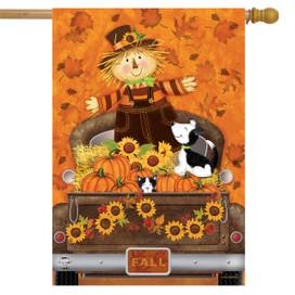 Fall Harvest Pickup Primitive House Flag