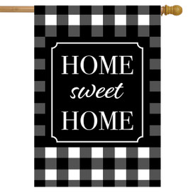 Home Sweet Home Checkered Spring House Flag