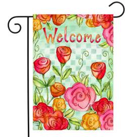 Welcome Roses Spring Garden Flag