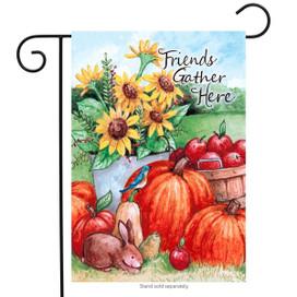 Friends Gather Here Autumn Garden Flag