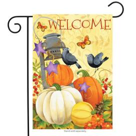 Lantern And Pumpkins Autumn Garden Flag