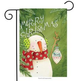 Merry Christmas Snowman Primitive Garden Flag