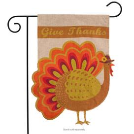 Give Thanks Turkey Burlap Garden Flag